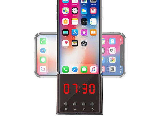 Wireless Charger Stand with LED Alarm Clock